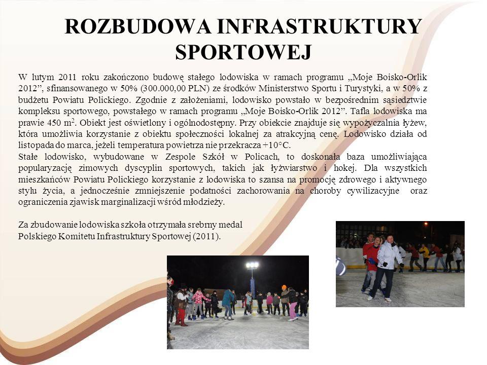 ROZBUDOWA INFRASTRUKTURY SPORTOWEJ W lutym 2011 roku zakończono budowę stałego lodowiska w ramach programu Moje Boisko-Orlik 2012, sfinansowanego w 50