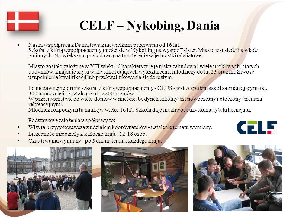 CELF – Nykobing, Dania Nasza współpraca z Danią trwa z niewielkimi przerwami od 16 lat. Szkoła, z którą współpracujemy mieści się w Nykobing na wyspie