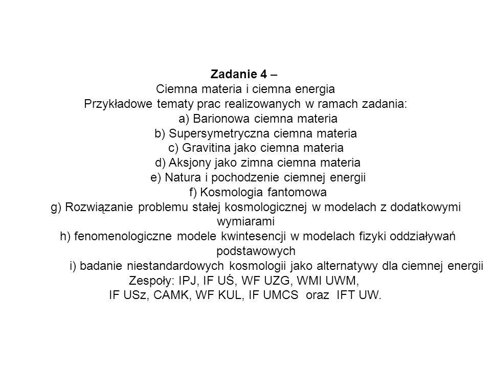 Zadanie 4 – Ciemna materia i ciemna energia Przykładowe tematy prac realizowanych w ramach zadania: a) Barionowa ciemna materia b) Supersymetryczna ci