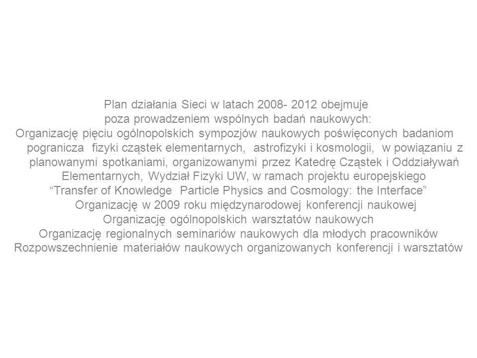 Plan działania Sieci w latach 2008- 2012 obejmuje poza prowadzeniem wspólnych badań naukowych: Organizację pięciu ogólnopolskich sympozjów naukowych p