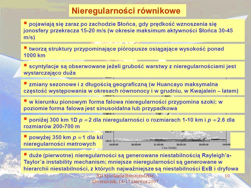 XII Spotkania Bieszczadzkie, Dwerniczek, 14-17 czerwca 2007 10 Nieregularności równikowe powyżej 350 km p 1 dla kilometrowych nieregularności i p 3.2