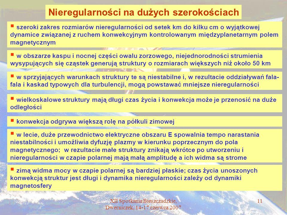 XII Spotkania Bieszczadzkie, Dwerniczek, 14-17 czerwca 2007 11 Nieregularności na dużych szerokościach zimą widma mocy w czapie polarnej są bardziej p