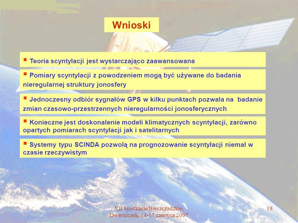 XII Spotkania Bieszczadzkie, Dwerniczek, 14-17 czerwca 2007 18 Wnioski Teoria scyntylacji jest wystarczająco zaawansowana Pomiary scyntylacji z powodz