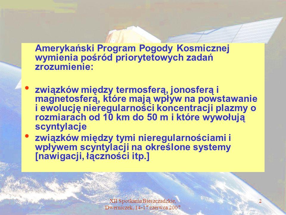 XII Spotkania Bieszczadzkie, Dwerniczek, 14-17 czerwca 2007 2 Amerykański Program Pogody Kosmicznej wymienia pośród priorytetowych zadań zrozumienie:
