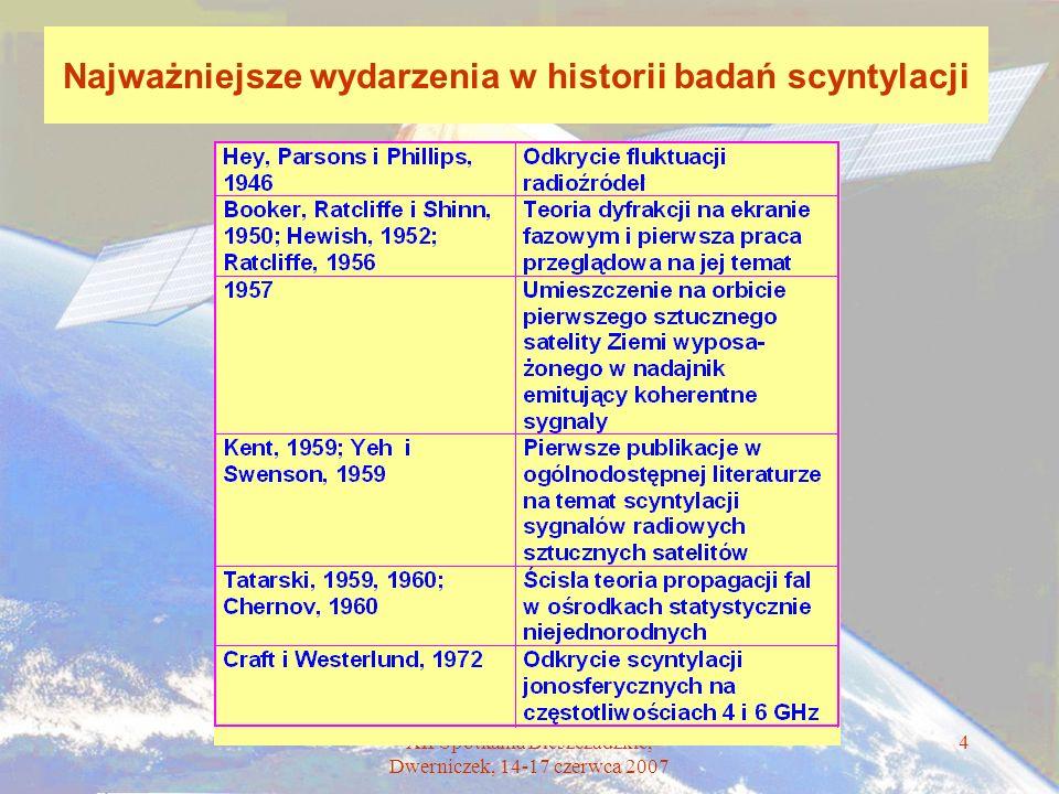 XII Spotkania Bieszczadzkie, Dwerniczek, 14-17 czerwca 2007 4 Najważniejsze wydarzenia w historii badań scyntylacji
