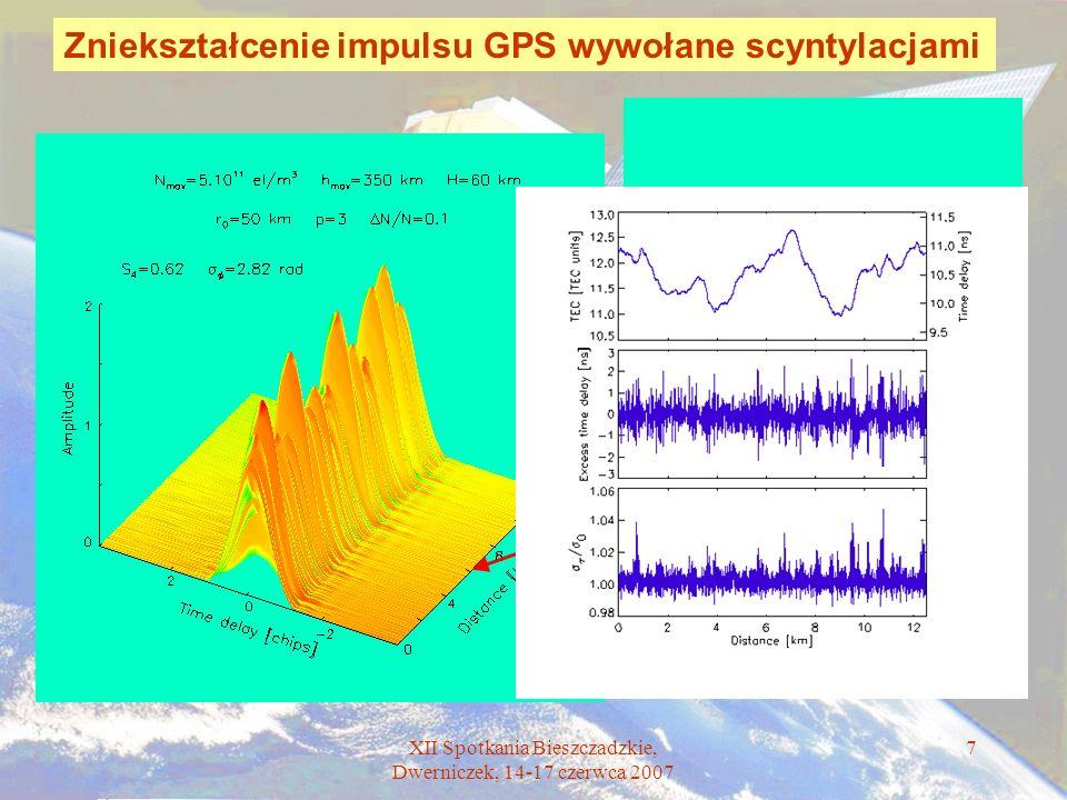 XII Spotkania Bieszczadzkie, Dwerniczek, 14-17 czerwca 2007 7 Zniekształcenie impulsu GPS wywołane scyntylacjami