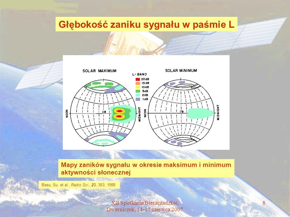 XII Spotkania Bieszczadzkie, Dwerniczek, 14-17 czerwca 2007 8 Głębokość zaniku sygnału w paśmie L Basu, Su. et al., Radio Sci., 23, 363, 1988 Mapy zan