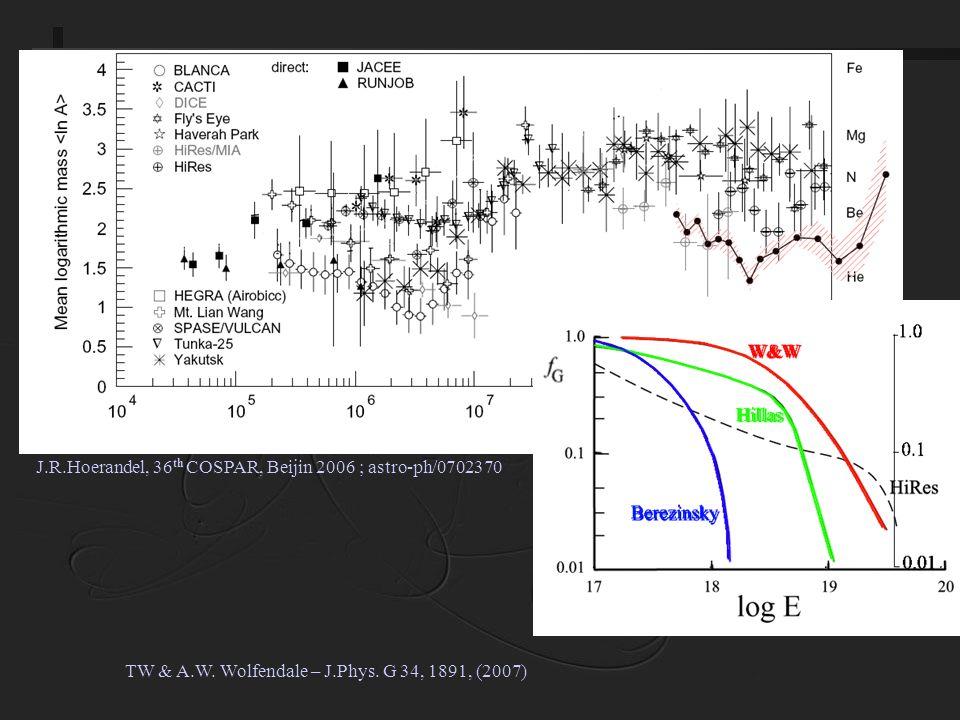 J.R.Hoerandel, 36 th COSPAR, Beijin 2006 ; astro-ph/0702370 TW & A.W.