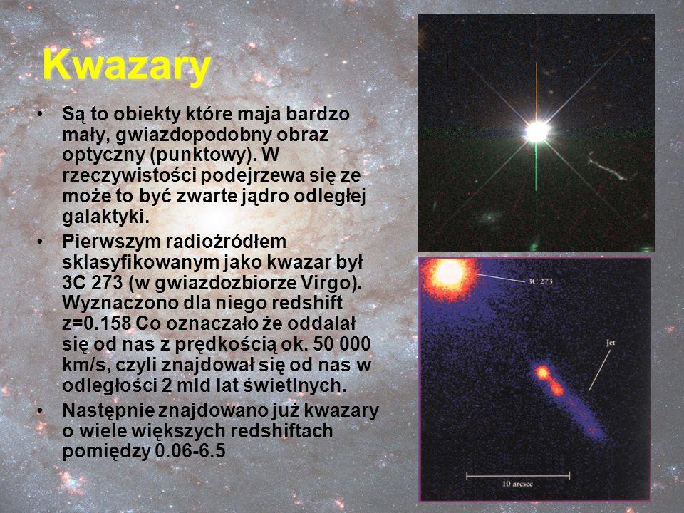 Kwazary Są to obiekty które maja bardzo mały, gwiazdopodobny obraz optyczny (punktowy). W rzeczywistości podejrzewa się ze może to być zwarte jądro od