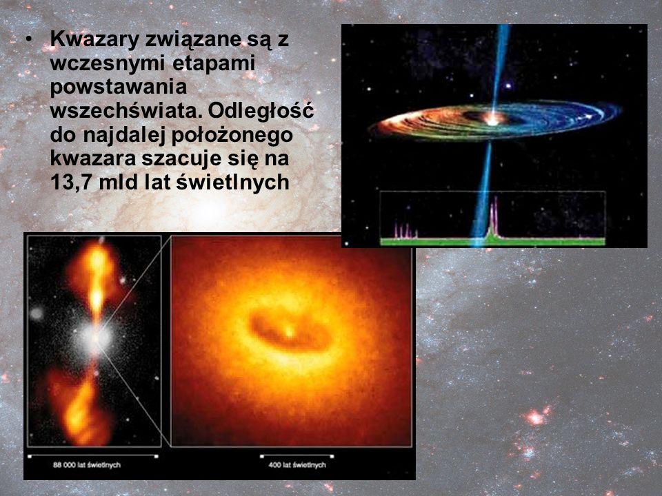 Kwazary związane są z wczesnymi etapami powstawania wszechświata. Odległość do najdalej położonego kwazara szacuje się na 13,7 mld lat świetlnych