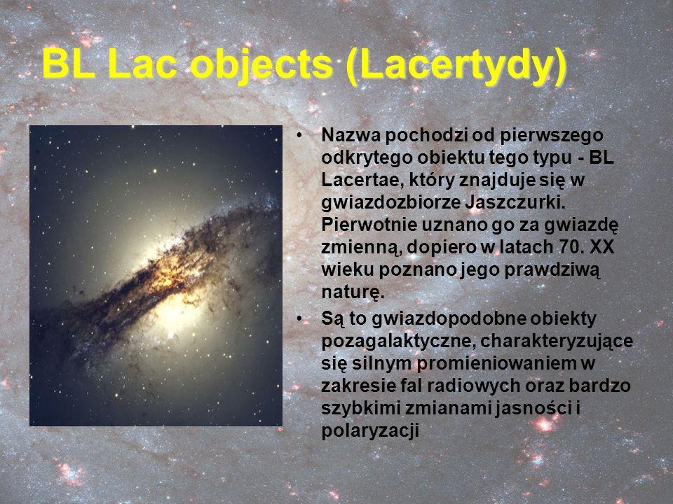 BL Lac objects (Lacertydy) Nazwa pochodzi od pierwszego odkrytego obiektu tego typu - BL Lacertae, który znajduje się w gwiazdozbiorze Jaszczurki. Pie