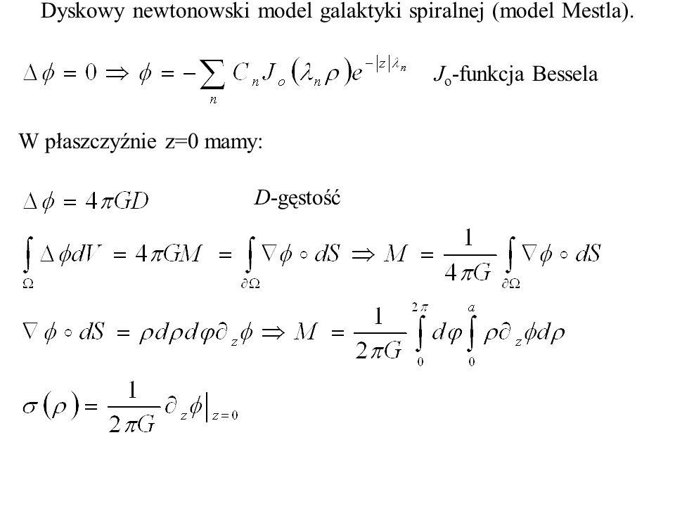 Dyskowy newtonowski model galaktyki spiralnej (model Mestla). W płaszczyźnie z=0 mamy: J o -funkcja Bessela D-gęstość