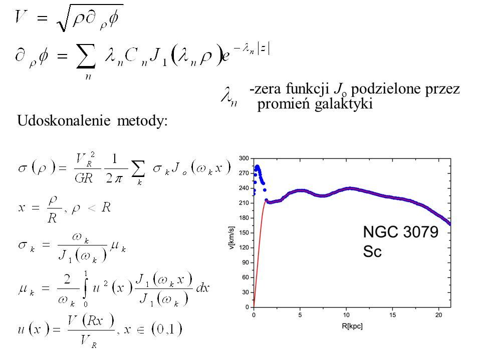 -zera funkcji J o podzielone przez promień galaktyki Udoskonalenie metody: