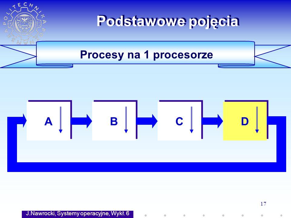 J.Nawrocki, Systemy operacyjne, Wykł. 6 17 Procesy na 1 procesorze Podstawowe pojęcia A A B B C C D D
