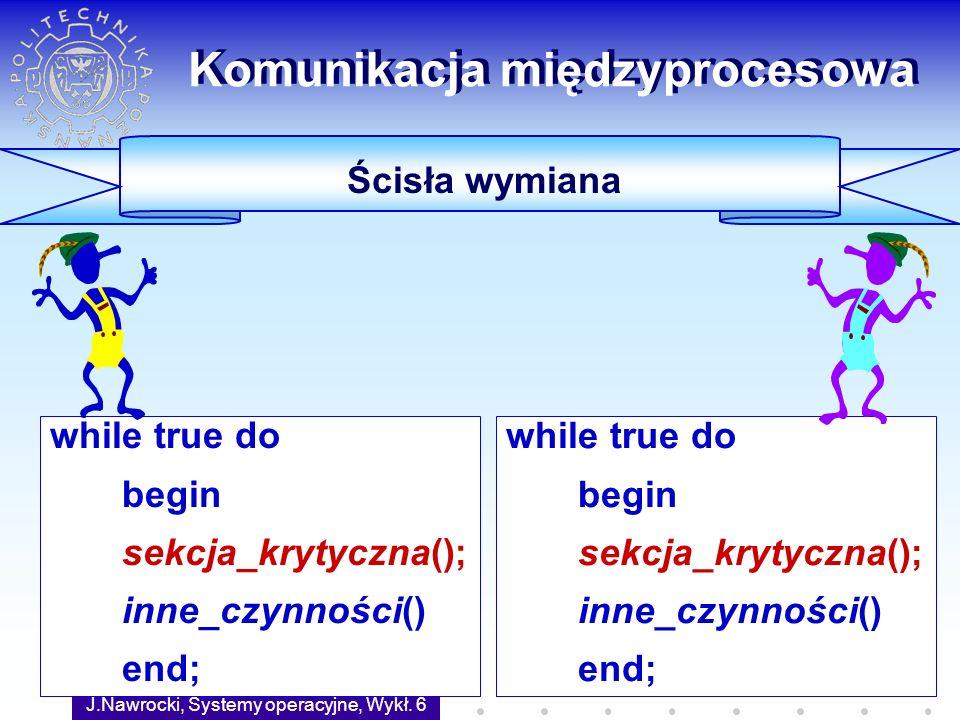 J.Nawrocki, Systemy operacyjne, Wykł. 6 38 Komunikacja międzyprocesowa Ścisła wymiana while true do begin sekcja_krytyczna(); inne_czynności() end; wh
