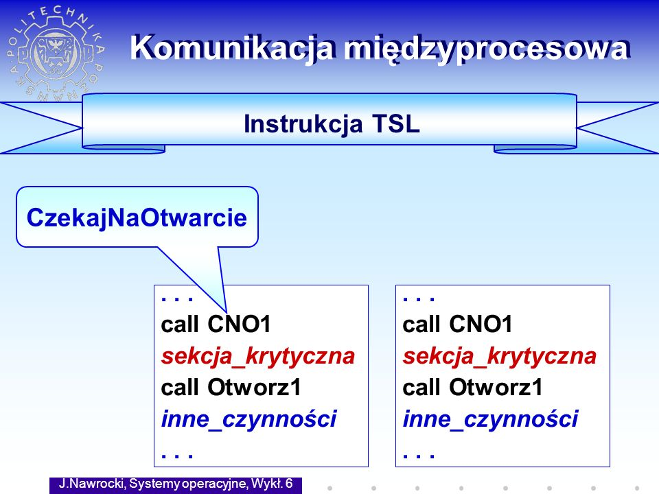 J.Nawrocki, Systemy operacyjne, Wykł. 6 40 Komunikacja międzyprocesowa Instrukcja TSL... call CNO1 sekcja_krytyczna call Otworz1 inne_czynności... cal