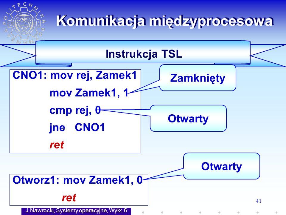 J.Nawrocki, Systemy operacyjne, Wykł. 6 41 Otworz1: mov Zamek1, 0 ret CNO1: mov rej, Zamek1 mov Zamek1, 1 cmp rej, 0 jne CNO1 ret Komunikacja międzypr