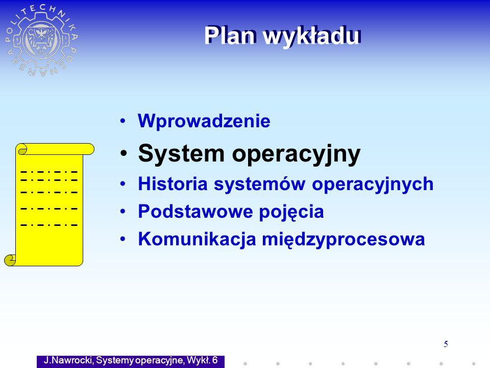 J.Nawrocki, Systemy operacyjne, Wykł. 6 5 Plan wykładu Wprowadzenie System operacyjny Historia systemów operacyjnych Podstawowe pojęcia Komunikacja mi