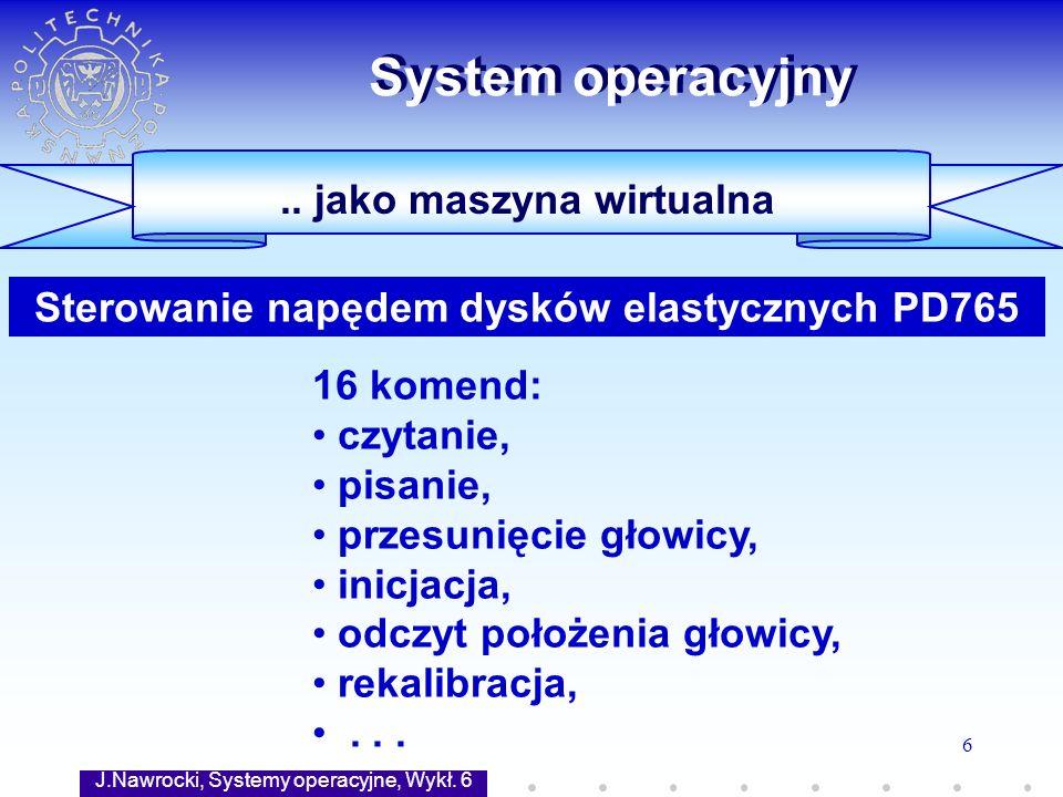 J.Nawrocki, Systemy operacyjne, Wykł. 6 6 System operacyjny.. jako maszyna wirtualna 16 komend: czytanie, pisanie, przesunięcie głowicy, inicjacja, od