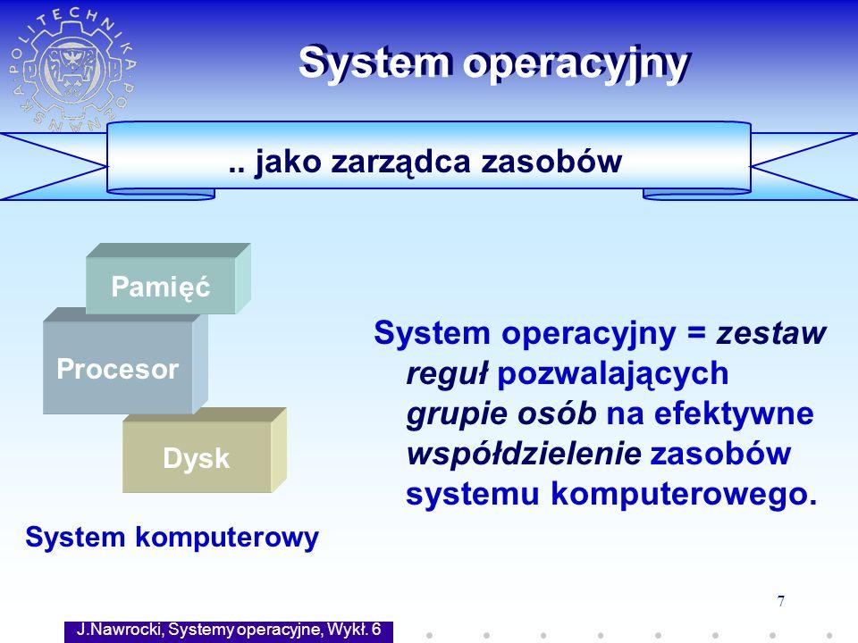 J.Nawrocki, Systemy operacyjne, Wykł. 6 7 Dysk.. jako zarządca zasobów System operacyjny System operacyjny = zestaw reguł pozwalających grupie osób na