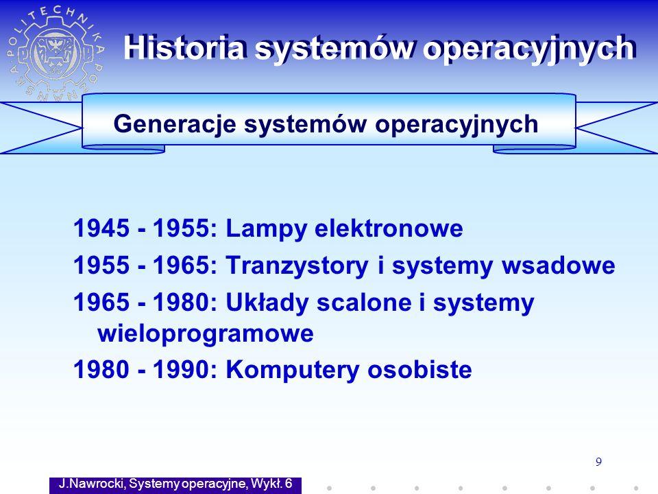 J.Nawrocki, Systemy operacyjne, Wykł. 6 9 Generacje systemów operacyjnych Historia systemów operacyjnych 1945 - 1955: Lampy elektronowe 1955 - 1965: T