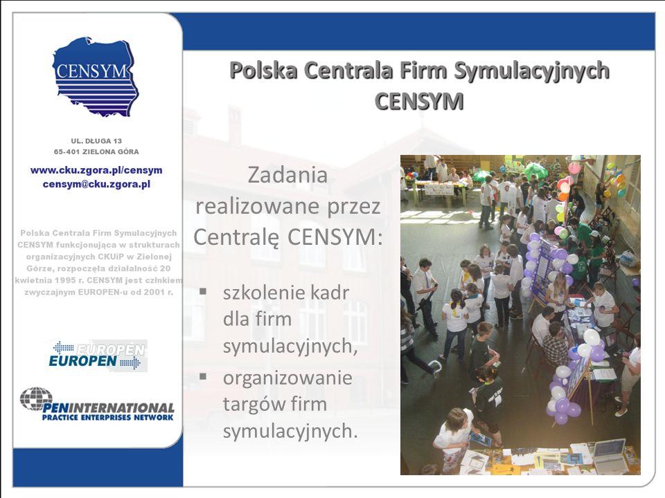 szkolenie kadr dla firm symulacyjnych, organizowanie targów firm symulacyjnych. Polska Centrala Firm Symulacyjnych CENSYM Zadania realizowane przez Ce