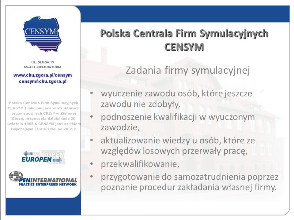 Polska Centrala Firm Symulacyjnych CENSYM wyuczenie zawodu osób, które jeszcze zawodu nie zdobyły, podnoszenie kwalifikacji w wyuczonym zawodzie, aktu