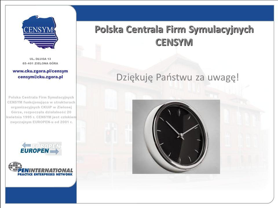 Polska Centrala Firm Symulacyjnych CENSYM Dziękuję Państwu za uwagę!