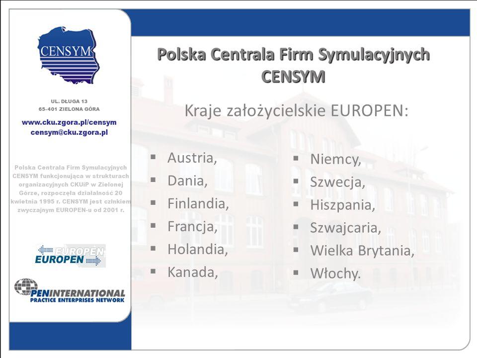 Polska Centrala Firm Symulacyjnych CENSYM Austria, Dania, Finlandia, Francja, Holandia, Kanada, Niemcy, Szwecja, Hiszpania, Szwajcaria, Wielka Brytani