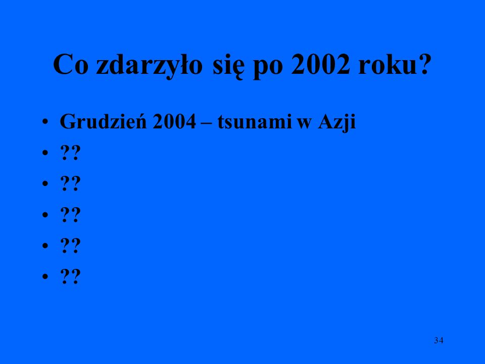 34 Co zdarzyło się po 2002 roku? Grudzień 2004 – tsunami w Azji ??