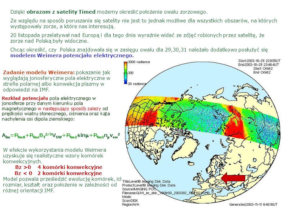 Dzięki obrazom z satelity Timed możemy określić położenie owalu zorzowego. Ze względu na sposób poruszania się satelity nie jest to jednak możliwe dla