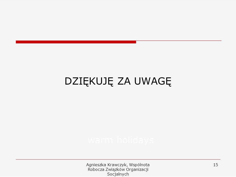 Agnieszka Krawczyk, Wspólnota Robocza Związków Organizacji Socjalnych 15 DZIĘKUJĘ ZA UWAGĘ warm holidays