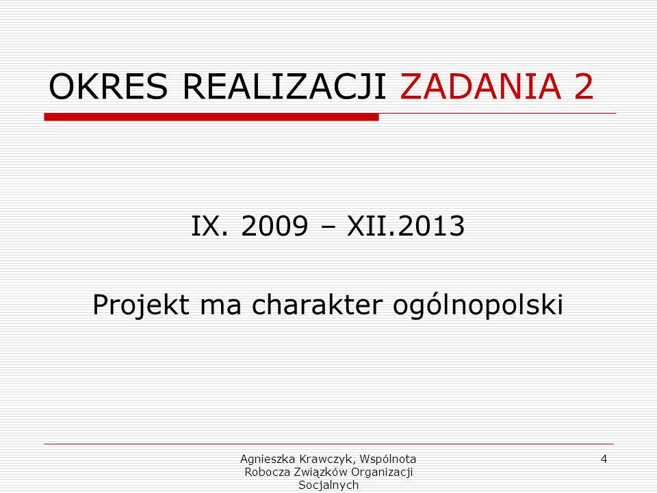 Agnieszka Krawczyk, Wspólnota Robocza Związków Organizacji Socjalnych 4 OKRES REALIZACJI ZADANIA 2 IX.