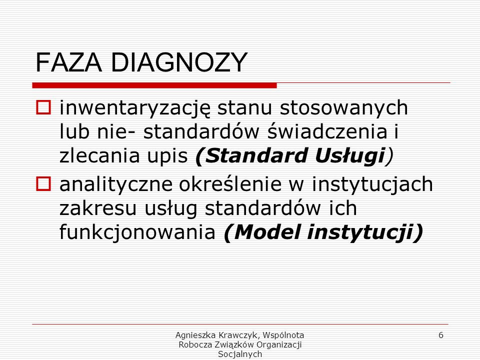 Agnieszka Krawczyk, Wspólnota Robocza Związków Organizacji Socjalnych 6 FAZA DIAGNOZY inwentaryzację stanu stosowanych lub nie- standardów świadczenia i zlecania upis (Standard Usługi) analityczne określenie w instytucjach zakresu usług standardów ich funkcjonowania (Model instytucji)