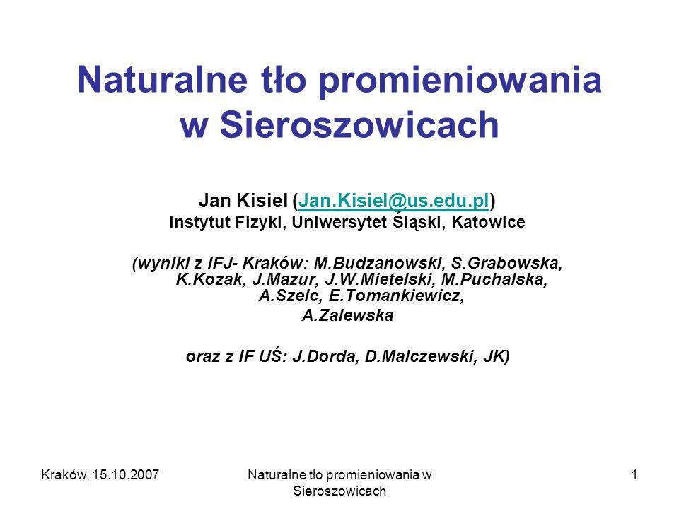 Kraków, 15.10.2007Naturalne tło promieniowania w Sieroszowicach 12 Pomiar stężenia 222 Rn (metoda Pico-Rad) Metoda pasywna przy użyciu detektorów typu Pico-Rad z węglem aktywnym.