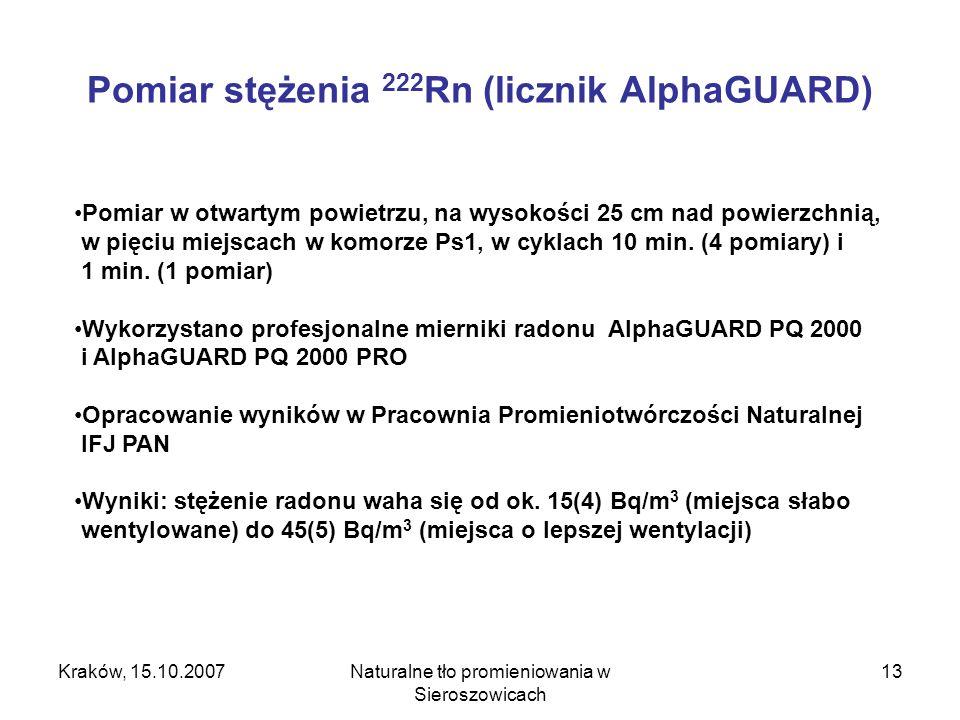 Kraków, 15.10.2007Naturalne tło promieniowania w Sieroszowicach 13 Pomiar stężenia 222 Rn (licznik AlphaGUARD) Pomiar w otwartym powietrzu, na wysokości 25 cm nad powierzchnią, w pięciu miejscach w komorze Ps1, w cyklach 10 min.