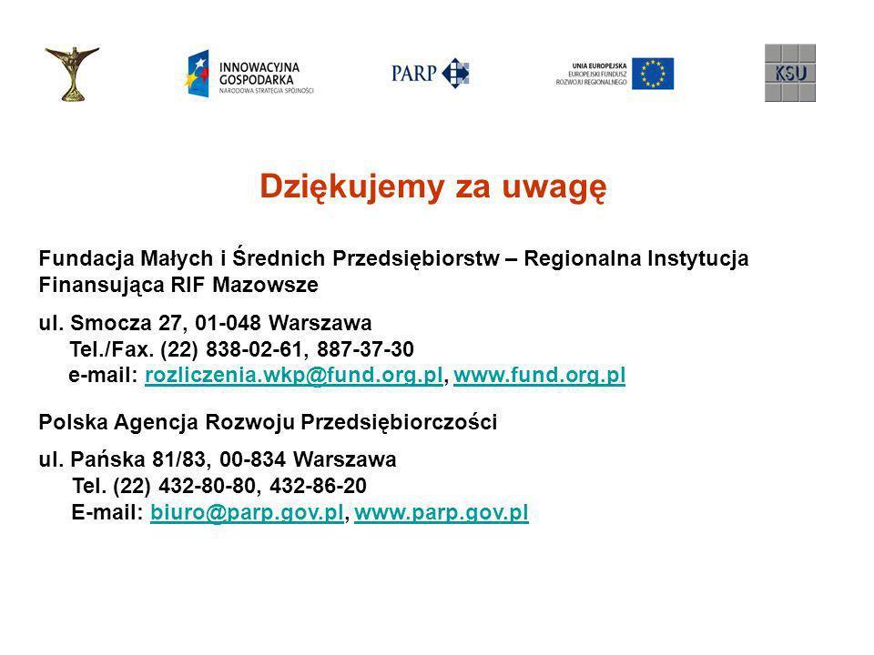 Dziękujemy za uwagę Fundacja Małych i Średnich Przedsiębiorstw – Regionalna Instytucja Finansująca RIF Mazowsze ul. Smocza 27, 01-048 Warszawa Tel./Fa