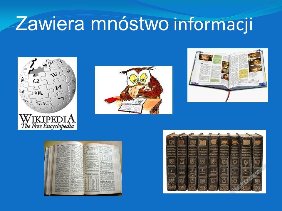 Zawiera mnóstwo informacji