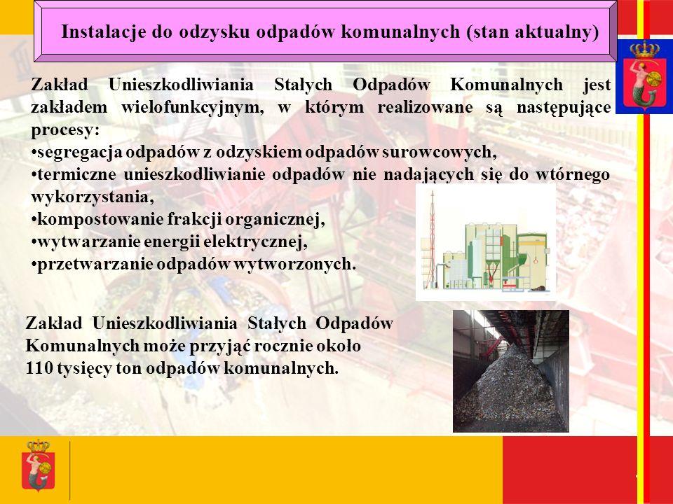 16 Zakład Unieszkodliwiania Stałych Odpadów Komunalnych jest zakładem wielofunkcyjnym, w którym realizowane są następujące procesy: segregacja odpadów