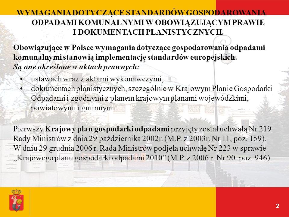 2 WYMAGANIA DOTYCZĄCE STANDARDÓW GOSPODAROWANIA ODPADAMI KOMUNALNYMI W OBOWIĄZUJĄCYM PRAWIE I DOKUMENTACH PLANISTYCZNYCH. Obowiązujące w Polsce wymaga