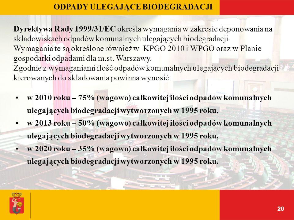 20 ODPADY ULEGAJĄCE BIODEGRADACJI Dyrektywa Rady 1999/31/EC określa wymagania w zakresie deponowania na składowiskach odpadów komunalnych ulegających