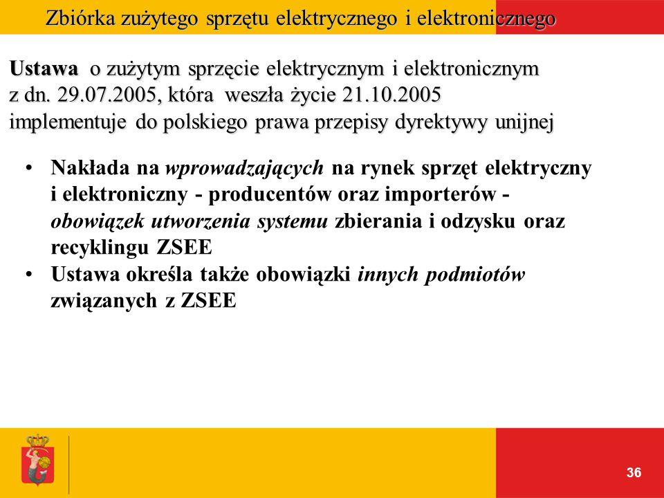 36 Zbiórka zużytego sprzętu elektrycznego i elektronicznego Ustawa o zużytym sprzęcie elektrycznym i elektronicznym z dn. 29.07.2005, która weszła życ