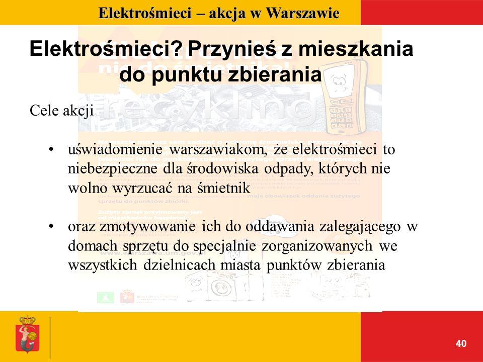 40 Elektrośmieci – akcja w Warszawie Elektrośmieci? Przynieś z mieszkania do punktu zbierania Cele akcji uświadomienie warszawiakom, że elektrośmieci