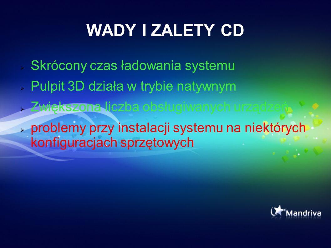 WADY I ZALETY CD Skrócony czas ładowania systemu Pulpit 3D działa w trybie natywnym Zwiększona liczba obsługiwanych urządzeń problemy przy instalacji systemu na niektórych konfiguracjach sprzętowych