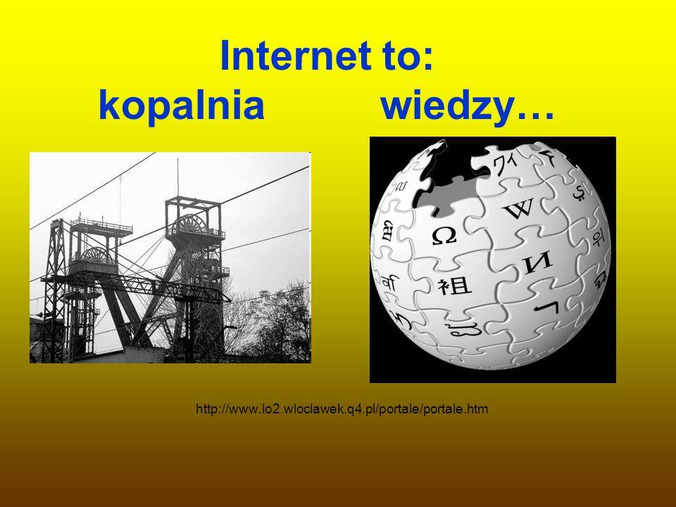 Internet to: kopalnia wiedzy… http://www.lo2.wloclawek.q4.pl/portale/portale.htm