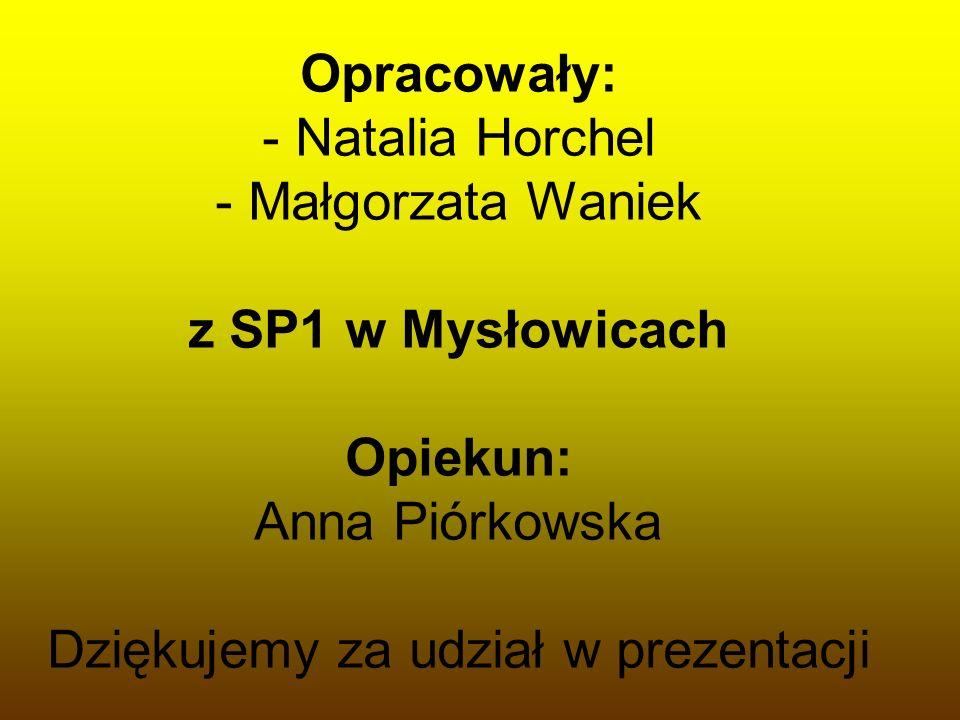 Opracowały: - Natalia Horchel - Małgorzata Waniek z SP1 w Mysłowicach Opiekun: Anna Piórkowska Dziękujemy za udział w prezentacji