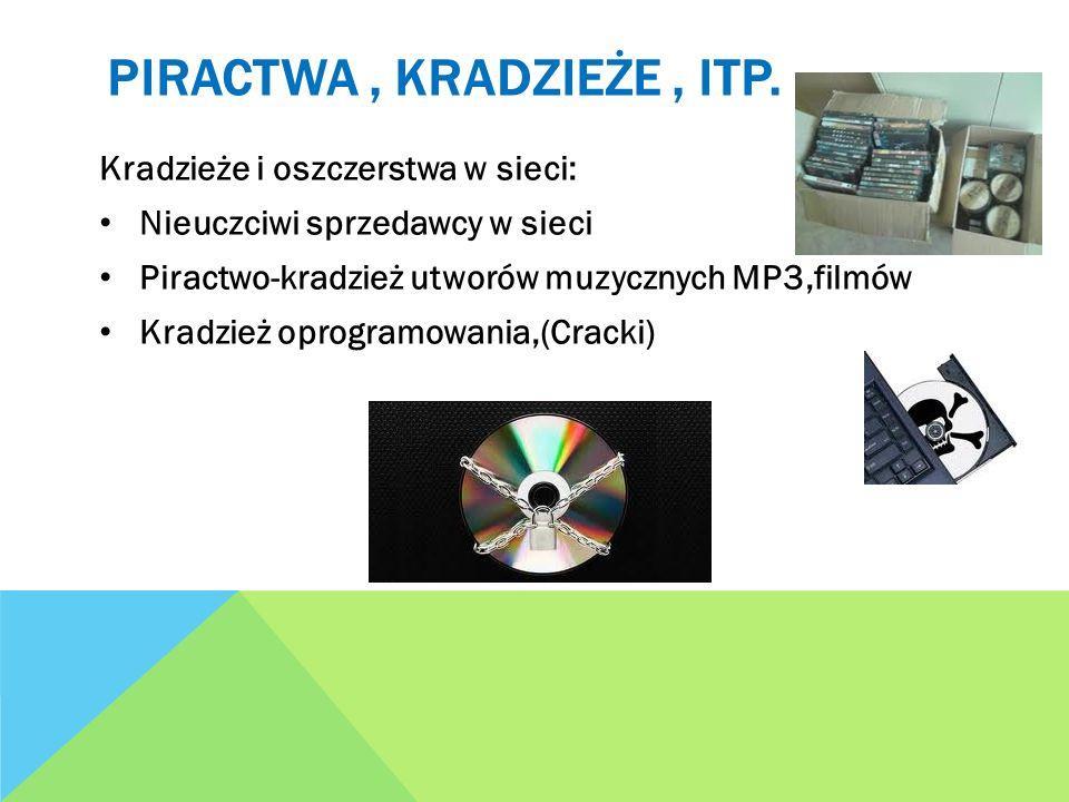 PIRACTWA, KRADZIEŻE, ITP. Kradzieże i oszczerstwa w sieci: Nieuczciwi sprzedawcy w sieci Piractwo-kradzież utworów muzycznych MP3,filmów Kradzież opro