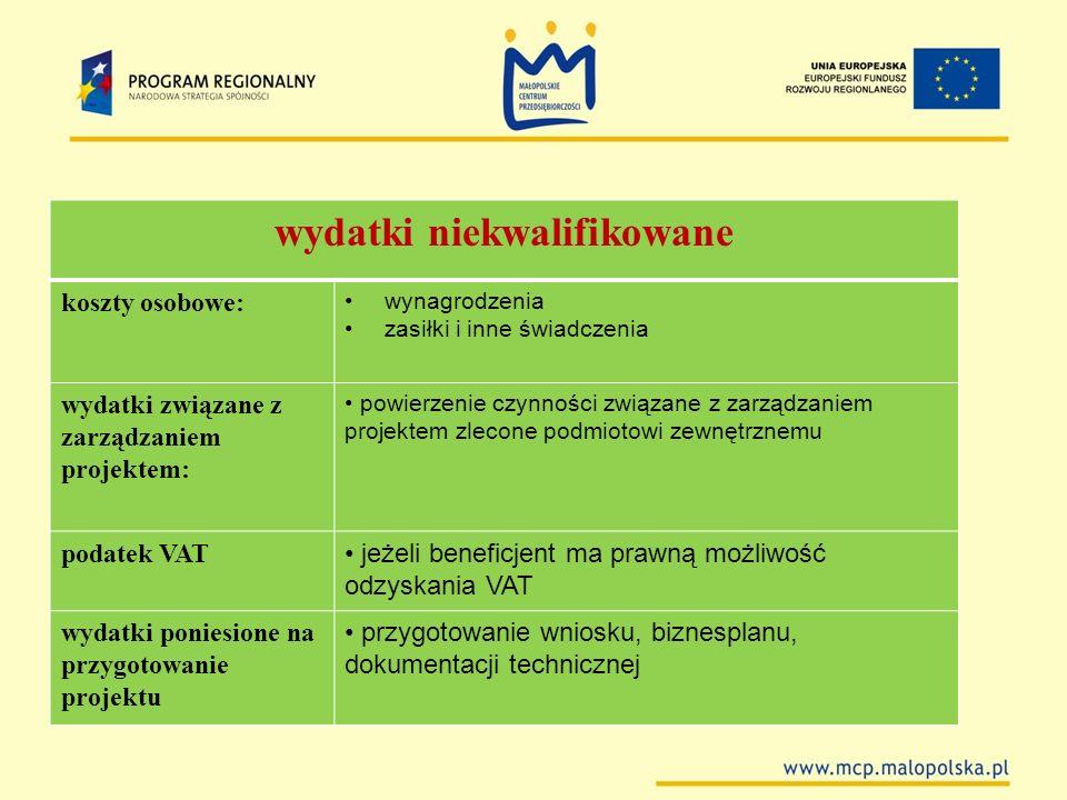 wydatki niekwalifikowane koszty osobowe: wynagrodzenia zasiłki i inne świadczenia wydatki związane z zarządzaniem projektem: powierzenie czynności zwi
