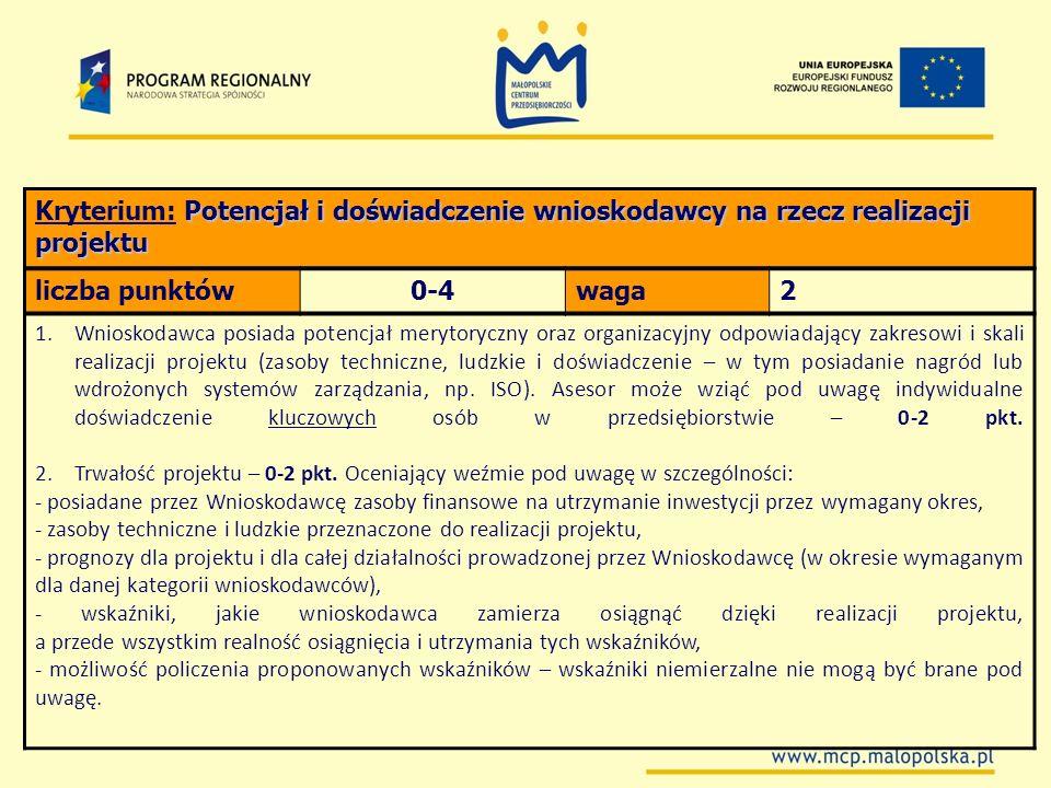 Potencjał i doświadczenie wnioskodawcy na rzecz realizacji projektu Kryterium: Potencjał i doświadczenie wnioskodawcy na rzecz realizacji projektu lic