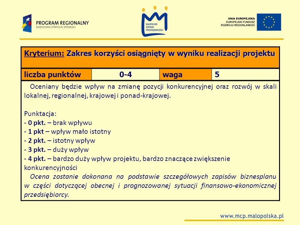 Zakres korzyści osiągnięty w wyniku realizacji projektu Kryterium: Zakres korzyści osiągnięty w wyniku realizacji projektu liczba punktów0-4waga5 Ocen